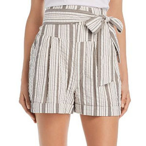 Rebecca Taylor High-Rise Striped Textured Shorts